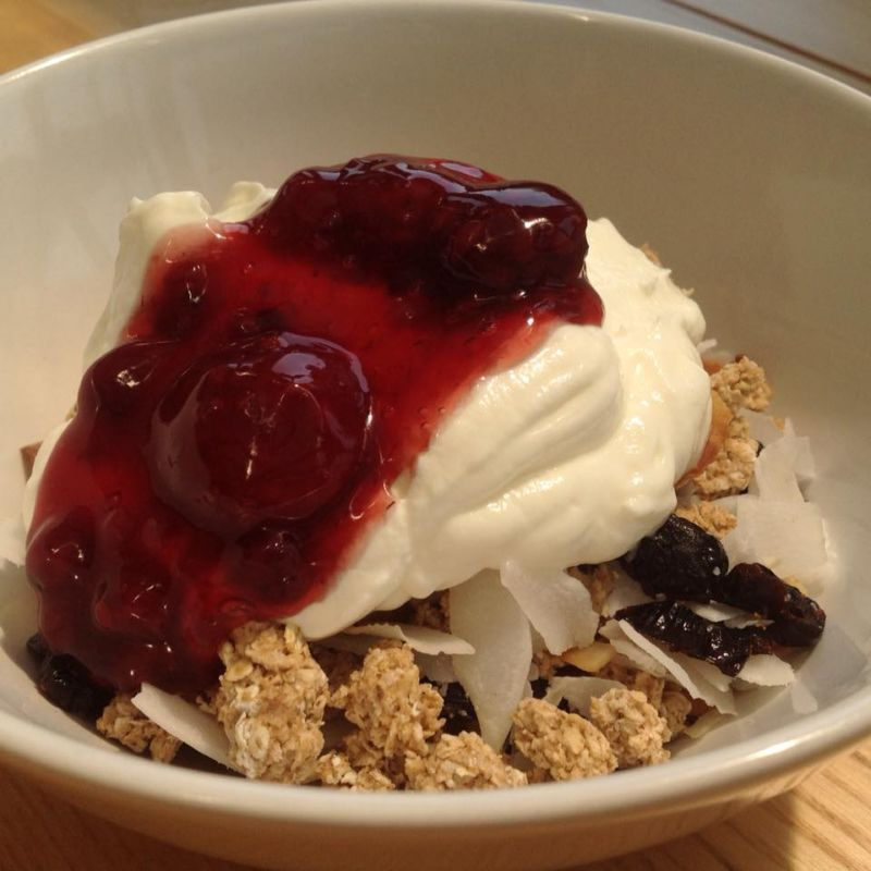 Homemade granola with Greek yoghurt & fruit compote