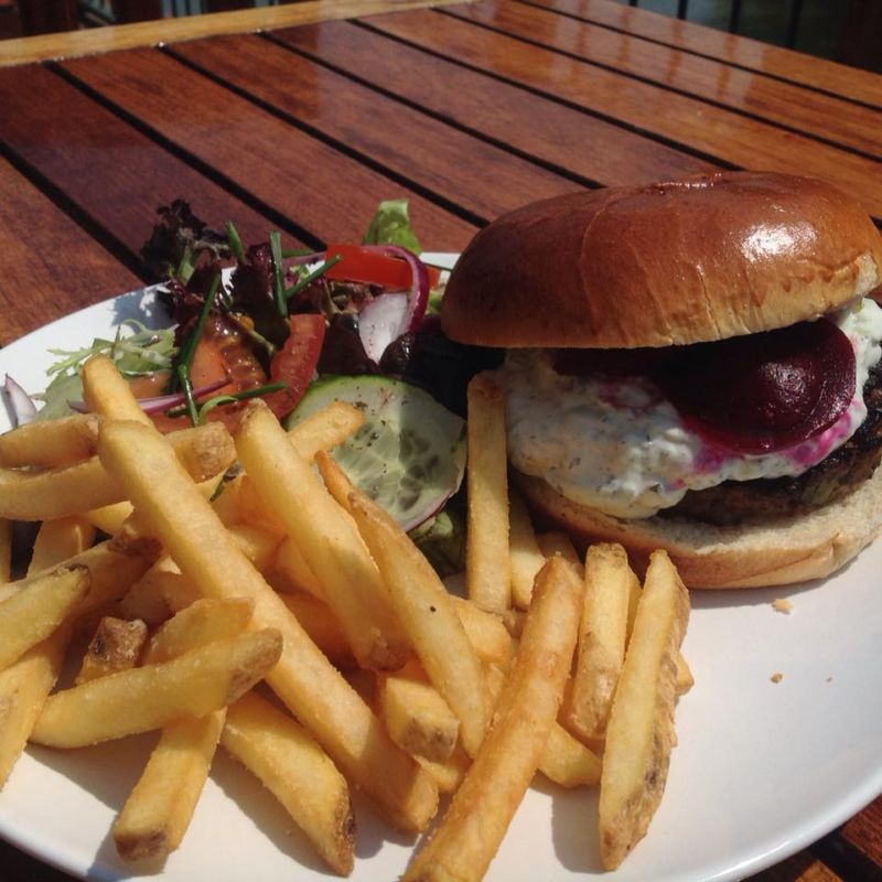 Our own recipe lamb burgers with tzatsiki and beetroot