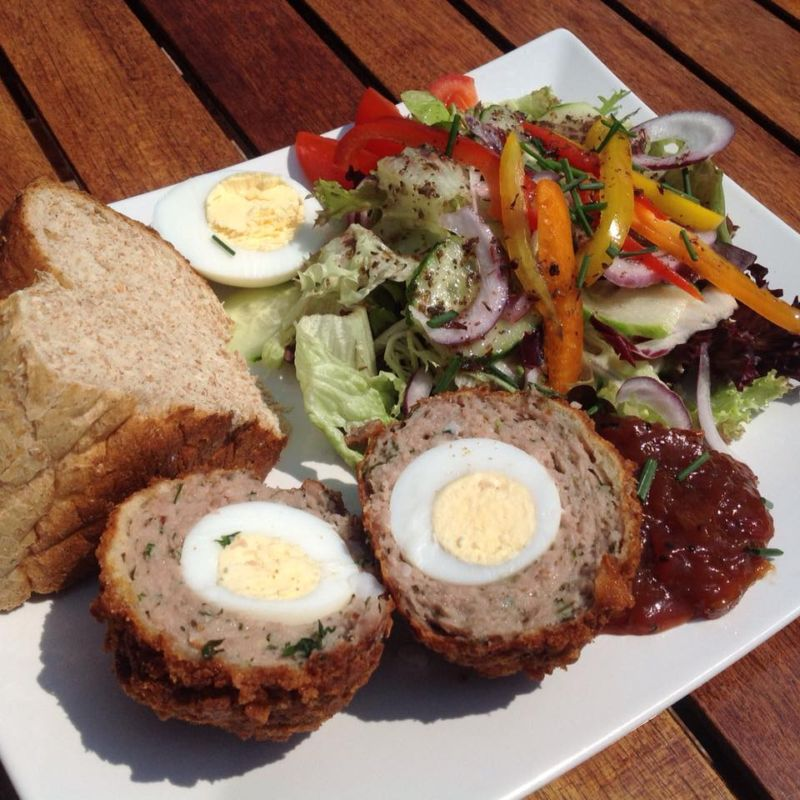 Waterside's own homemade scotch egg ploughmans